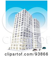 Royalty Free RF Clipart Illustration Of A Skyscraper Exterior Over Blue 2 by toonster