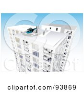 Royalty Free RF Clipart Illustration Of A Skyscraper Exterior Over Blue 5 by toonster