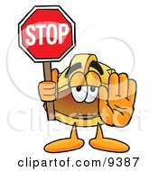Clipart Picture Of A Hard Hat Mascot Cartoon Character Holding A Stop Sign by Toons4Biz