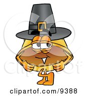 Clipart Picture Of A Hard Hat Mascot Cartoon Character Wearing A Pilgrim Hat On Thanksgiving by Toons4Biz