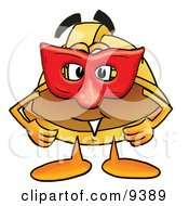 Hard Hat Mascot Cartoon Character Wearing A Red Mask Over His Face by Toons4Biz