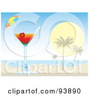 Royalty Free RF Clipart Illustration Of A Cocktail Umbrella And Cherry In A Tropical Alcoholic Drink On A Beach