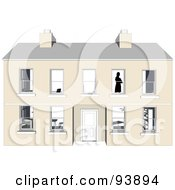 Royalty Free RF Clipart Illustration Of A Silhouetted Person Standing In The Window Of A Large Home by toonster