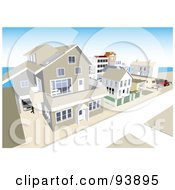 Royalty Free RF Clipart Illustration Of A Neighborhood Of Coastal Apartments And Homes by toonster