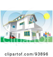 Royalty Free RF Clipart Illustration Of A Happy Family Standing Outside Their Costal Home by toonster