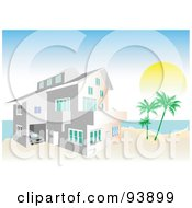 Royalty Free RF Clipart Illustration Of A Coastal Beach Home With Palm Trees by toonster