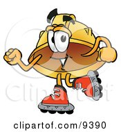 Clipart Picture Of A Hard Hat Mascot Cartoon Character Roller Blading On Inline Skates by Toons4Biz