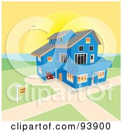 Royalty Free RF Clipart Illustration Of A For Sale Sign Near A Large Blue Coastal Home Against A Sunset by toonster