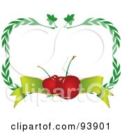 Border Of Green Leaves And Cherries With A Banner