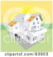 Royalty Free RF Clipart Illustration Of A Large Coastal Home With Solar Panels Under A Giant Coastal Sunset by toonster