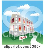 Royalty Free RF Clipart Illustration Of A Large Stone Home On A Green Hill Under A Blue Sky