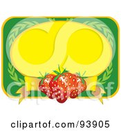 Royalty Free RF Clipart Illustration Of A Green And Yellow Label With Strawberries And Leaves by toonster