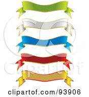 Digital Collage Of Two Toned Green White Blue Red And Yellow Ribbon Banners