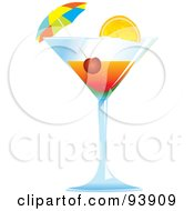 Royalty Free RF Clipart Illustration Of A Cocktail Umbrella And Cherry In A Tropical Alcoholic Beverage by toonster #COLLC93909-0117