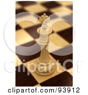 Royalty Free RF Clipart Illustration Of A 3d White Chess King On A Chess Wooden Baord by stockillustrations