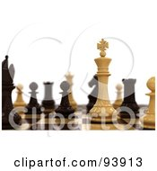 Royalty Free RF Clipart Illustration Of 3d Chess Pieces Set Up On A Board by stockillustrations