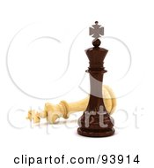 Royalty Free RF Clipart Illustration Of A 3d Black Chess King Standing Victoriously Over A White King by stockillustrations
