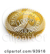 Royalty Free RF Clipart Illustration Of A 3d Golden 100 Percent Satisfaction Guaranteed Seal