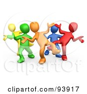 Royalty Free RF Clipart Illustration Of A Diverse Group Dancing And Having Fun At A Party by 3poD
