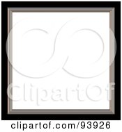 Royalty Free RF Clipart Illustration Of A Silver And Black Picture Frame Around White Space