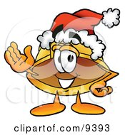 Clipart Picture Of A Hard Hat Mascot Cartoon Character Wearing A Santa Hat And Waving by Toons4Biz