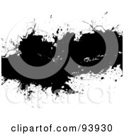 Royalty Free RF Clipart Illustration Of A Black Ink Splatter Spanning White