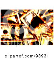 Royalty Free RF Clipart Illustration Of A Background Of Fiery Money by Arena Creative #COLLC93931-0094