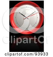 Royalty Free RF Clipart Illustration Of A 3d Round Red Clock Over Reflective Black