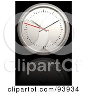 Royalty Free RF Clipart Illustration Of A 3d Round Clock Over Reflective Black
