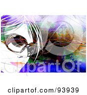 Royalty Free RF Clipart Illustration Of A Womans Face Wearing Sunglasses Over A Colorful Background Of Linse And Halftone by Arena Creative