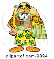 Hard Hat Mascot Cartoon Character In Green And Yellow Snorkel Gear