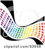 Royalty Free RF Clipart Illustration Of A Wave Of Rainbow Colored Squares On Black by Arena Creative