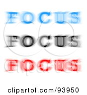 Royalty Free RF Clipart Illustration Of Blue Black And Red Blurred Focus Words On White