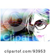Royalty Free RF Clipart Illustration Of A Womans Face Wearing Shades Over A Colorful Background Of Waves