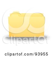 3d Yellow Office Filing Folder Slightly Open And Empty