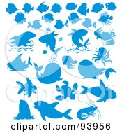 Royalty Free RF Clipart Illustration Of A Digital Collage Of Blue Silhouetted Sea Animals by Alex Bannykh