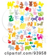 Royalty Free RF Clipart Illustration Of A Digital Collage Of Colorful Silhouetted Insects And Animals by Alex Bannykh