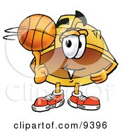 Clipart Picture Of A Hard Hat Mascot Cartoon Character Spinning A Basketball On His Finger by Toons4Biz