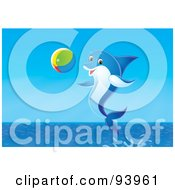 Royalty Free RF Clipart Illustration Of A Playful Dolphin Jumping With A Beach Ball by Alex Bannykh