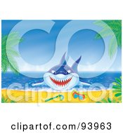 Royalty Free RF Clipart Illustration Of A Blue Shark Jumping On Shore Near Snorkel Gear by Alex Bannykh