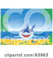 Royalty Free RF Clipart Illustration Of A Blue Shark Jumping On Shore Near Snorkel Gear by Alex Bannykh