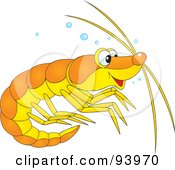 Royalty Free RF Clipart Illustration Of A Cute Yellow And Orange Prawn Or Shrimp With Bubbles by Alex Bannykh