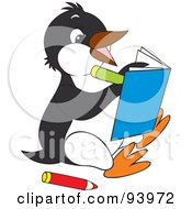 Royalty Free RF Clipart Illustration Of A Cute Penguin Coloring In A Book by Alex Bannykh