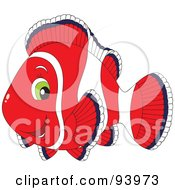 Royalty Free RF Clipart Illustration Of A Red And White Clownfish With Green Eyes by Alex Bannykh