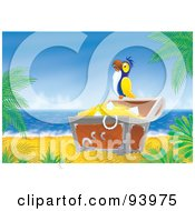 Royalty Free RF Clipart Illustration Of A Parrot Perched On A Treasure Chest Of Booty On A Tropical Beach by Alex Bannykh
