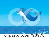 Royalty Free RF Clipart Illustration Of A Jumping Blue Dolphin With A Splash by Alex Bannykh