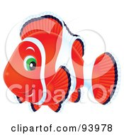 Royalty Free RF Clipart Illustration Of A Red And White Airbrushed Clownfish With Green Eyes by Alex Bannykh