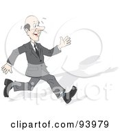 Royalty Free RF Clipart Illustration Of A Sweating Business Man Running With A Shadow by Alex Bannykh