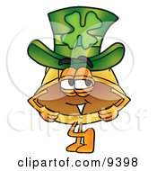 Clipart Picture Of A Hard Hat Mascot Cartoon Character Wearing A Saint Patricks Day Hat With A Clover On It by Toons4Biz