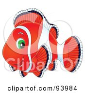 Royalty Free RF Clipart Illustration Of A Red Clownfish With Green Eyes by Alex Bannykh